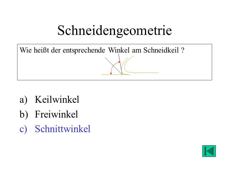 Schneidengeometrie a)Keilwinkel b)Freiwinkel c)Schnittwinkel Wie heißt der entsprechende Winkel am Schneidkeil ? Lösung