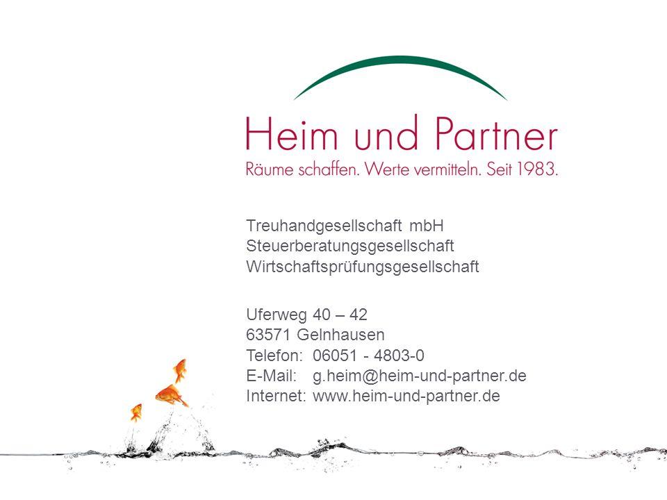 Treuhandgesellschaft mbH Steuerberatungsgesellschaft Wirtschaftsprüfungsgesellschaft Uferweg 40 – 42 63571 Gelnhausen Telefon:06051 - 4803-0 E-Mail:g.
