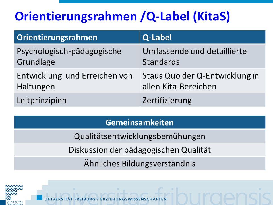 Orientierungsrahmen /Q-Label (KitaS) OrientierungsrahmenQ-Label Psychologisch-pädagogische Grundlage Umfassende und detaillierte Standards Entwicklung und Erreichen von Haltungen Staus Quo der Q-Entwicklung in allen Kita-Bereichen LeitprinzipienZertifizierung Gemeinsamkeiten Qualitätsentwicklungsbemühungen Diskussion der pädagogischen Qualität Ähnliches Bildungsverständnis