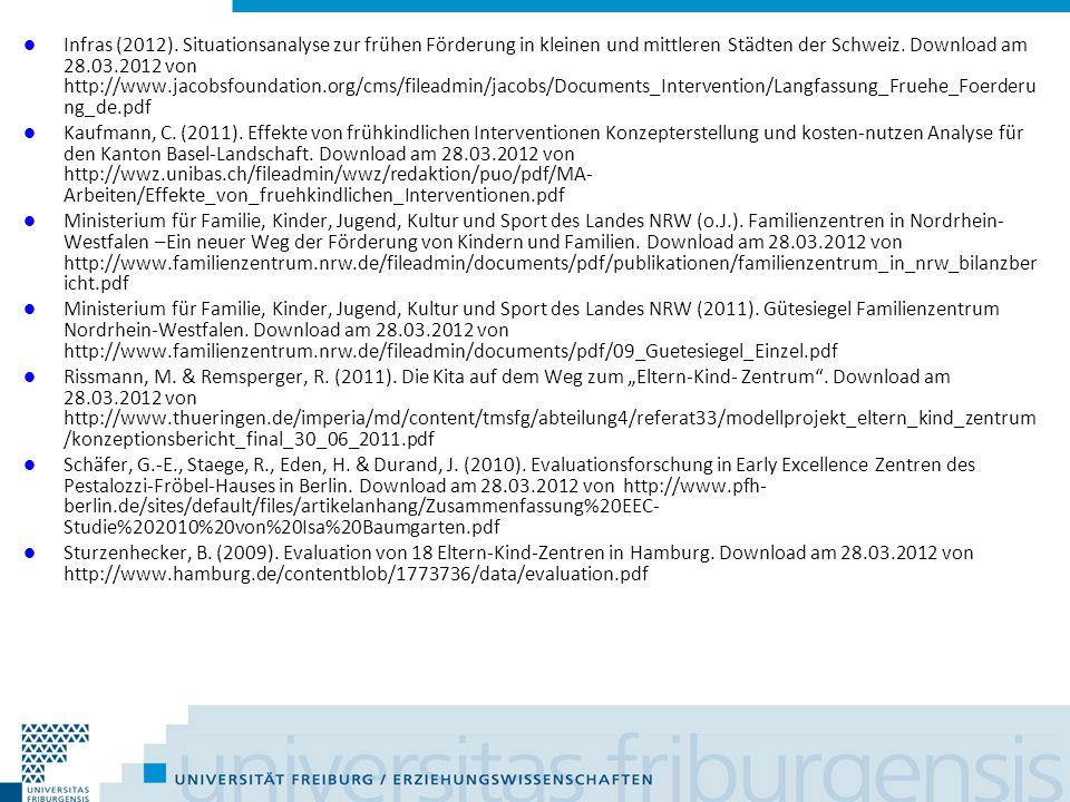 Infras (2012). Situationsanalyse zur frühen Förderung in kleinen und mittleren Städten der Schweiz. Download am 28.03.2012 von http://www.jacobsfounda