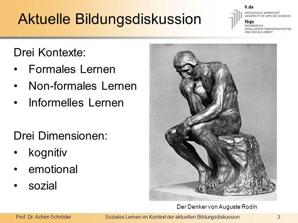 Prof. Dr. Achim SchröderSoziales Lernen im Kontext der aktuellen Bildungsdiskussion3 Aktuelle Bildungsdiskussion Drei Kontexte: Formales Lernen Non-fo