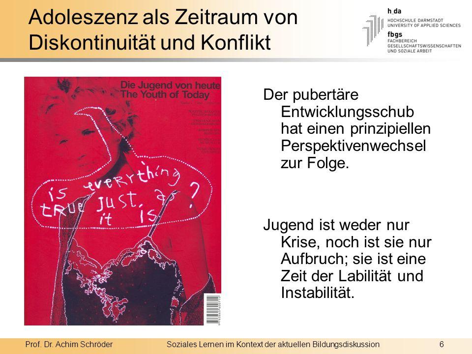 Prof. Dr. Achim SchröderSoziales Lernen im Kontext der aktuellen Bildungsdiskussion6 Adoleszenz als Zeitraum von Diskontinuität und Konflikt Der puber