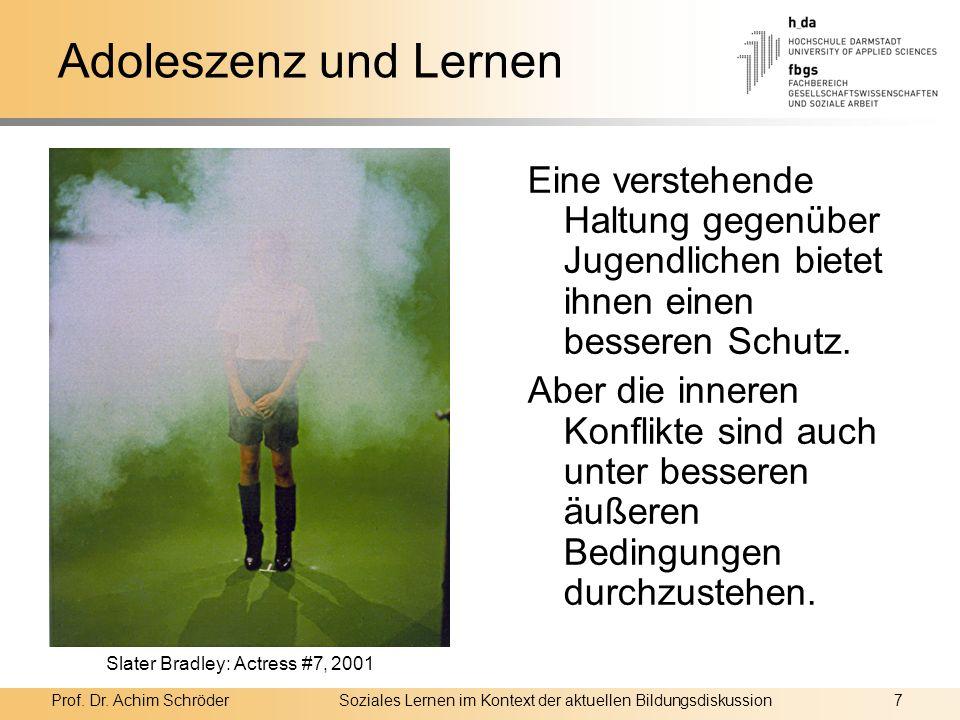 Prof. Dr. Achim SchröderSoziales Lernen im Kontext der aktuellen Bildungsdiskussion7 Adoleszenz und Lernen Eine verstehende Haltung gegenüber Jugendli