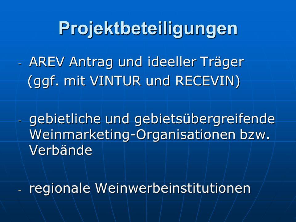 Projektbeteiligungen - AREV Antrag und ideeller Träger (ggf. mit VINTUR und RECEVIN) (ggf. mit VINTUR und RECEVIN) - gebietliche und gebietsübergreife