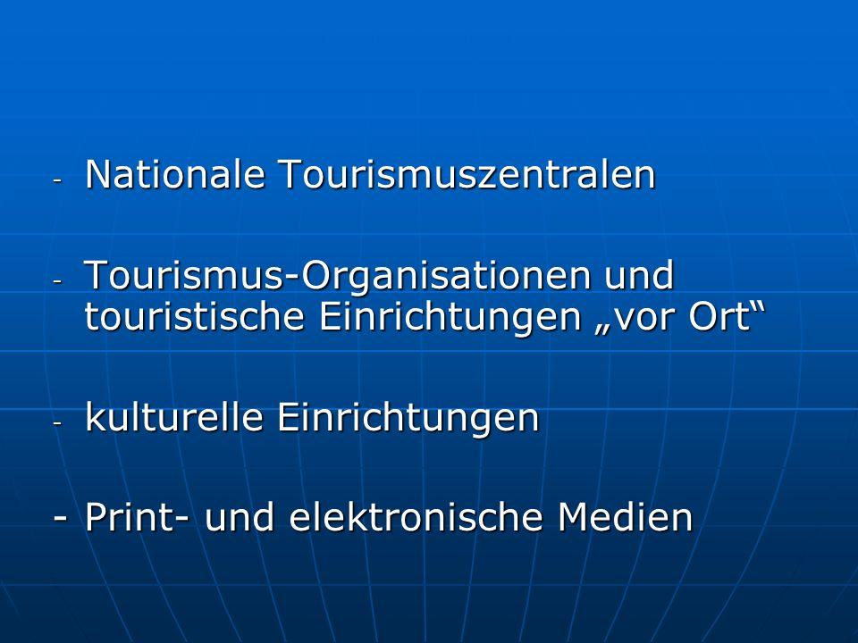 - Nationale Tourismuszentralen - Tourismus-Organisationen und touristische Einrichtungen vor Ort - kulturelle Einrichtungen -Print- und elektronische