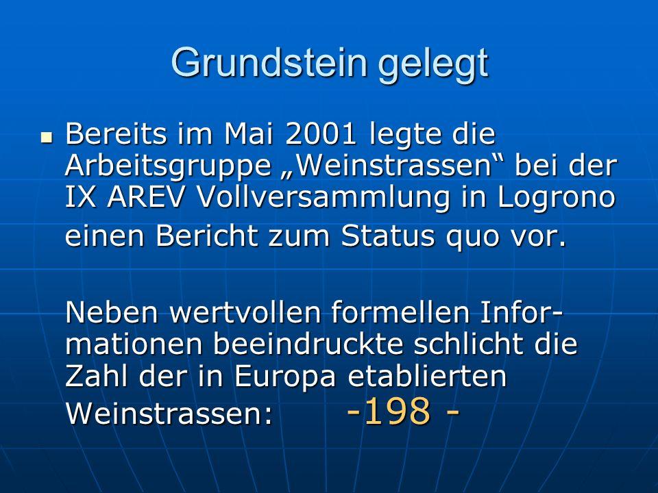 Grundstein gelegt Bereits im Mai 2001 legte die Arbeitsgruppe Weinstrassen bei der IX AREV Vollversammlung in Logrono Bereits im Mai 2001 legte die Ar