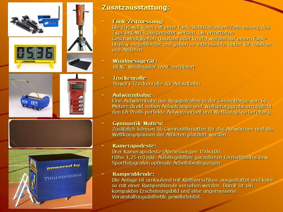 Zusatzausstattung: Funk-Zeitmessung: Funk-Zeitmessung: Die FlySwat kann mit einer Funk-Lichtschranken-Zeitmessung des Die FlySwat kann mit einer Funk-