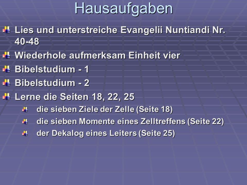 Hausaufgaben Lies und unterstreiche Evangelii Nuntiandi Nr.