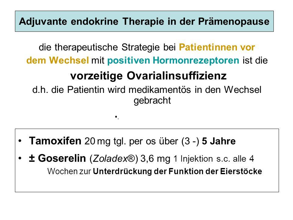 Adjuvante endokrine Therapie in der Prämenopause die therapeutische Strategie bei Patientinnen vor dem Wechsel mit positiven Hormonrezeptoren ist die