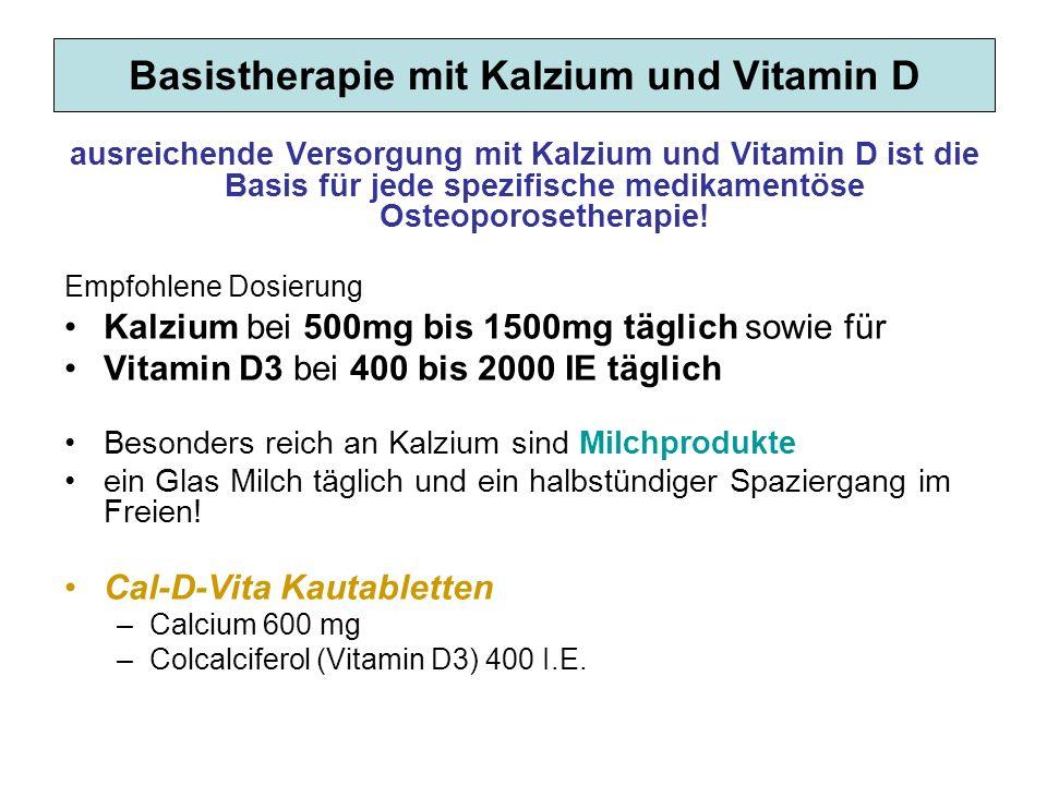 Basistherapie mit Kalzium und Vitamin D ausreichende Versorgung mit Kalzium und Vitamin D ist die Basis für jede spezifische medikamentöse Osteoporose
