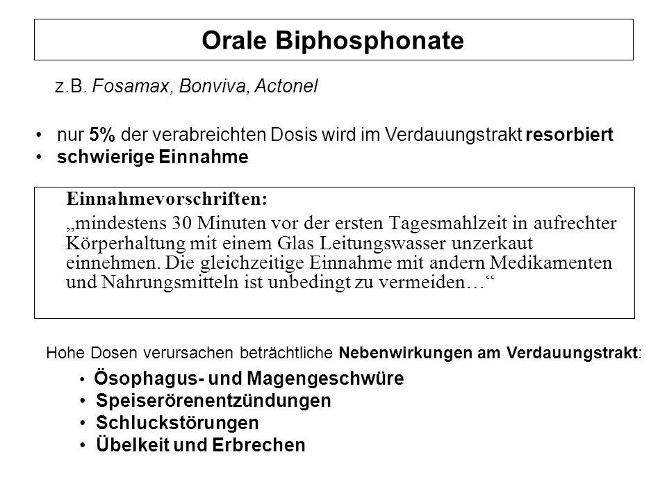 Orale Biphosphonate Einnahmevorschriften: mindestens 30 Minuten vor der ersten Tagesmahlzeit in aufrechter Körperhaltung mit einem Glas Leitungswasser