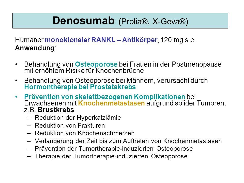 Denosumab (Prolia®, X-Geva®) Humaner monoklonaler RANKL – Antikörper, 120 mg s.c. Anwendung: Behandlung von Osteoporose bei Frauen in der Postmenopaus