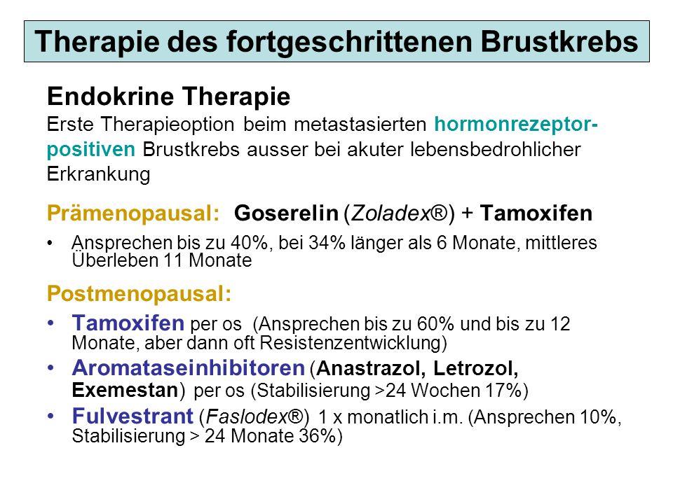 Therapie des fortgeschrittenen Brustkrebs Endokrine Therapie Erste Therapieoption beim metastasierten hormonrezeptor- positiven Brustkrebs ausser bei