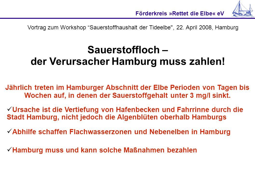 Förderkreis »Rettet die Elbe« eV Jährlich treten im Hamburger Abschnitt der Elbe Perioden von Tagen bis Wochen auf, in denen der Sauerstoffgehalt unter 3 mg/l sinkt.
