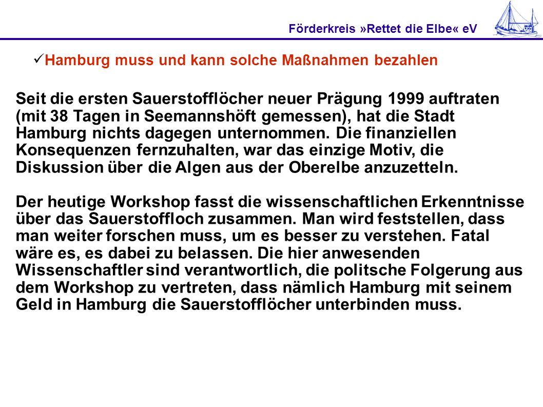 Förderkreis »Rettet die Elbe« eV Hamburg muss und kann solche Maßnahmen bezahlen Seit die ersten Sauerstofflöcher neuer Prägung 1999 auftraten (mit 38