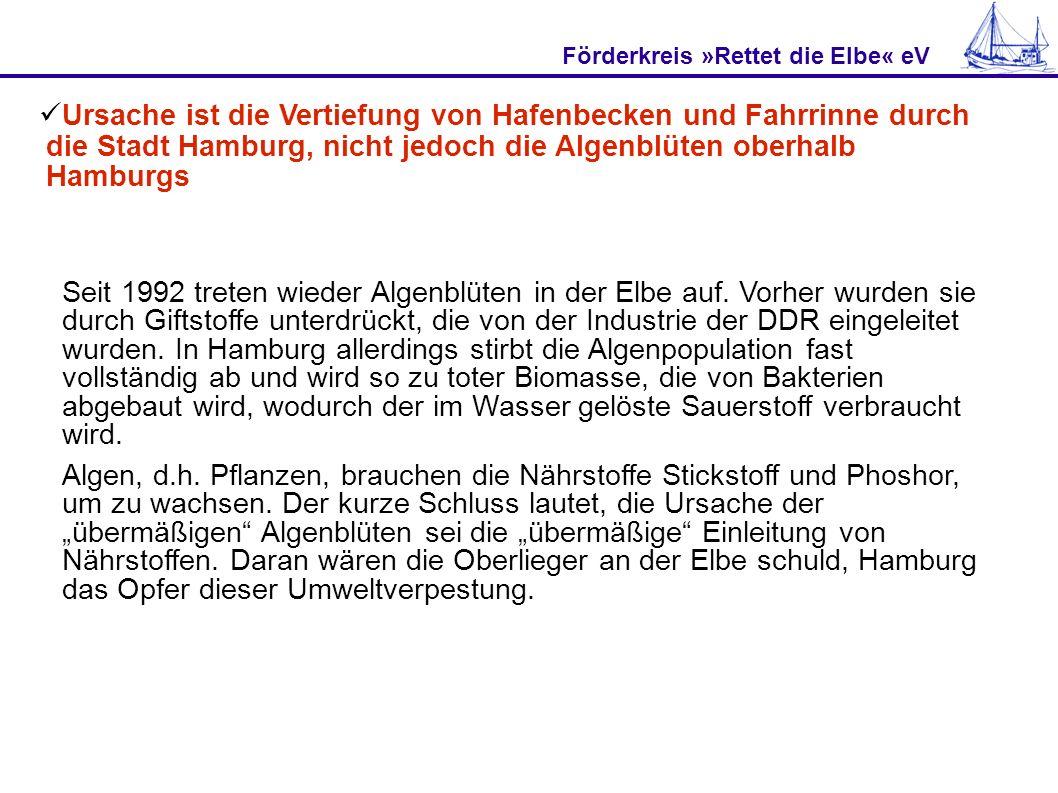 Förderkreis »Rettet die Elbe« eV Ursache ist die Vertiefung von Hafenbecken und Fahrrinne durch die Stadt Hamburg, nicht jedoch die Algenblüten oberhalb Hamburgs Algen gab es schon lange, bevor Menschen die Gewässer beeinflussten.