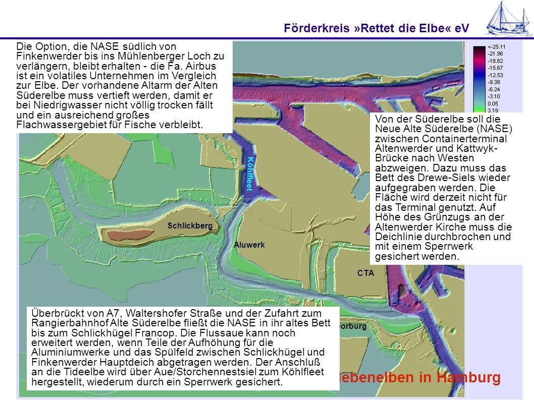 Förderkreis »Rettet die Elbe« eV Abhilfe schaffen Flachwasserzonen und Nebenelben in Hamburg Schlickberg Aluwerk CTA Moorburg Köhlfleet Von der Südere
