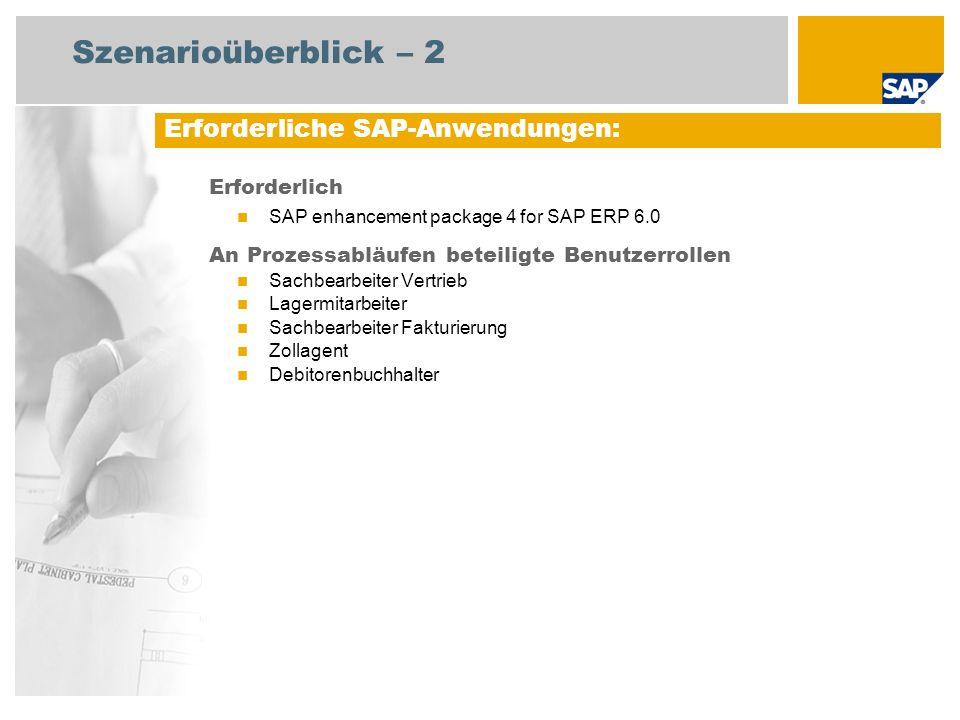 Szenarioüberblick – 2 Erforderlich SAP enhancement package 4 for SAP ERP 6.0 An Prozessabläufen beteiligte Benutzerrollen Sachbearbeiter Vertrieb Lagermitarbeiter Sachbearbeiter Fakturierung Zollagent Debitorenbuchhalter Erforderliche SAP-Anwendungen: