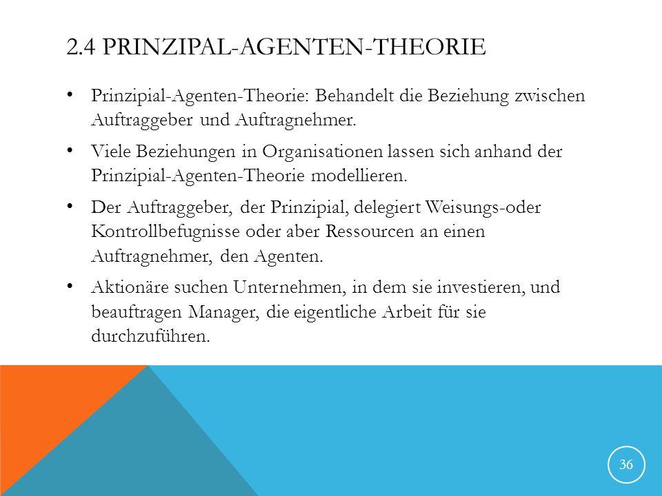 2.4 PRINZIPAL-AGENTEN-THEORIE Prinzipial-Agenten-Theorie: Behandelt die Beziehung zwischen Auftraggeber und Auftragnehmer. Viele Beziehungen in Organi
