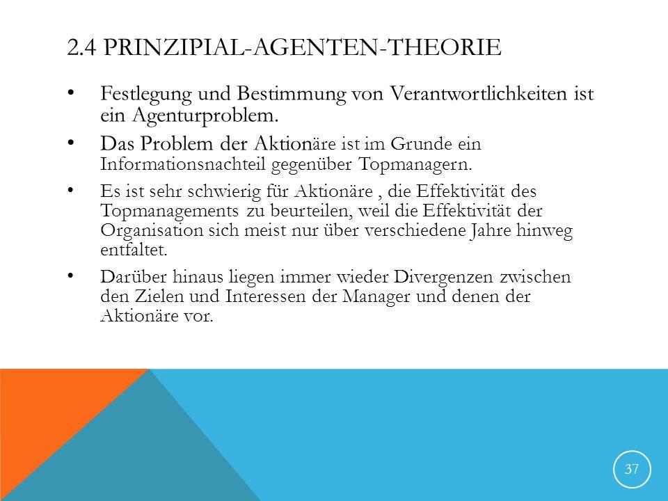 2.4 PRINZIPIAL-AGENTEN-THEORIE Festlegung und Bestimmung von Verantwortlichkeiten ist ein Agenturproblem. Das Problem der Aktion äre ist im Grunde ein