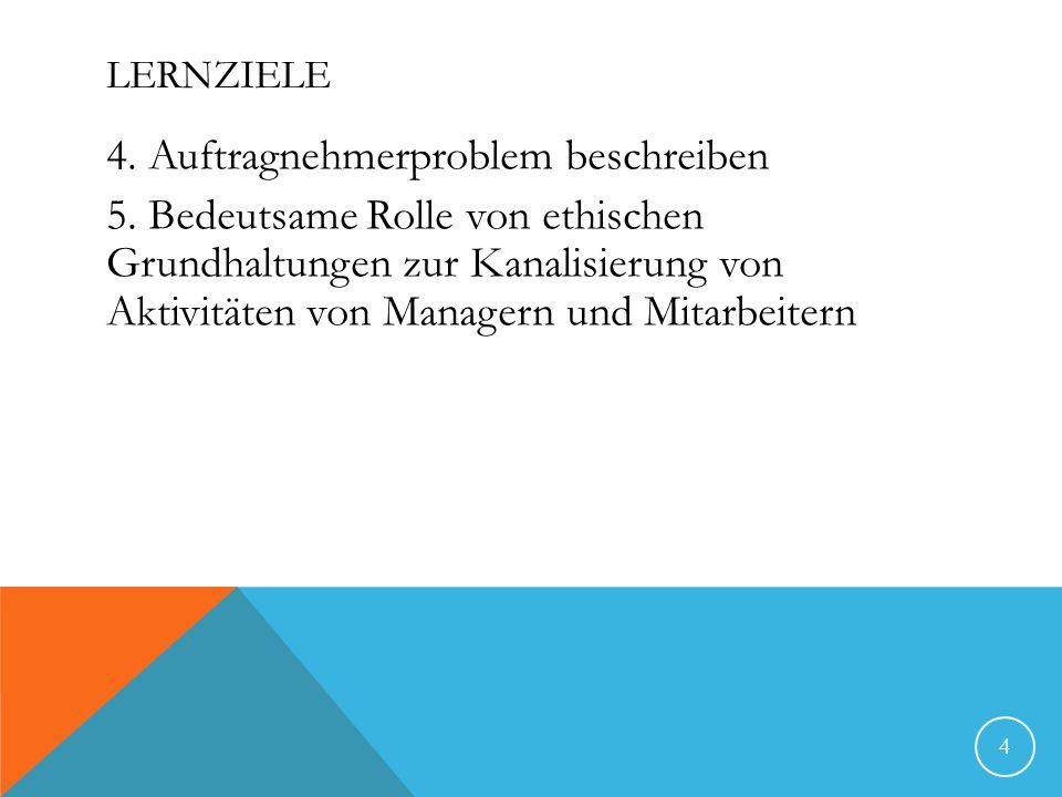 LERNZIELE 4. Auftragnehmerproblem beschreiben 5. Bedeutsame Rolle von ethischen Grundhaltungen zur Kanalisierung von Aktivitäten von Managern und Mita