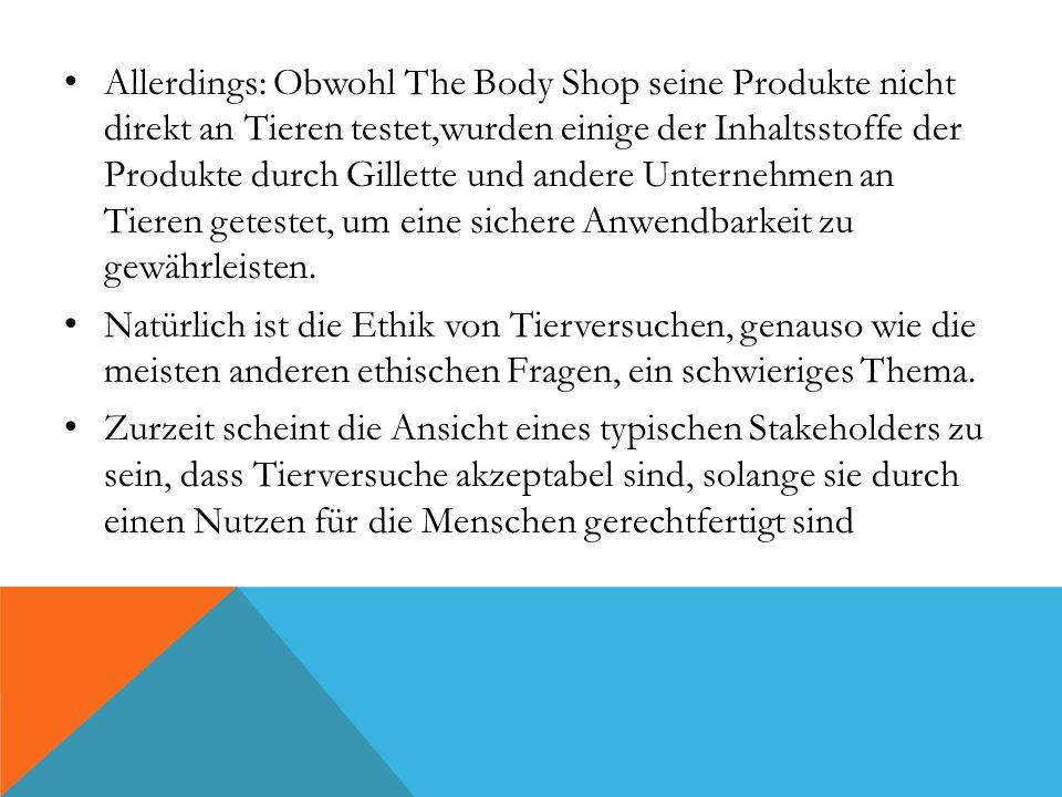 Allerdings: Obwohl The Body Shop seine Produkte nicht direkt an Tieren testet,wurden einige der Inhaltsstoffe der Produkte durch Gillette und andere U
