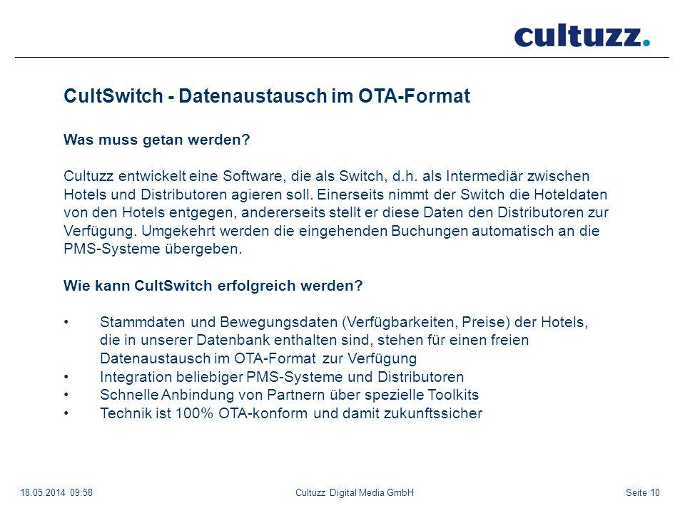 Seite 1018.05.2014 09:58Cultuzz Digital Media GmbH CultSwitch - Datenaustausch im OTA-Format Was muss getan werden? Cultuzz entwickelt eine Software,