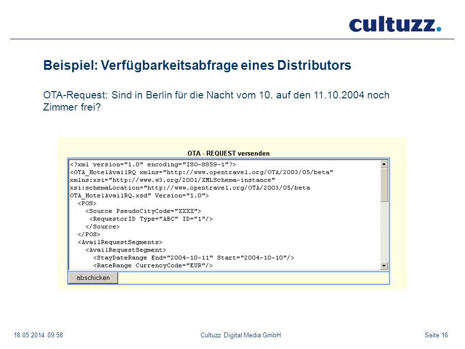 Seite 1618.05.2014 09:58Cultuzz Digital Media GmbH Beispiel: Verfügbarkeitsabfrage eines Distributors OTA-Request: Sind in Berlin für die Nacht vom 10