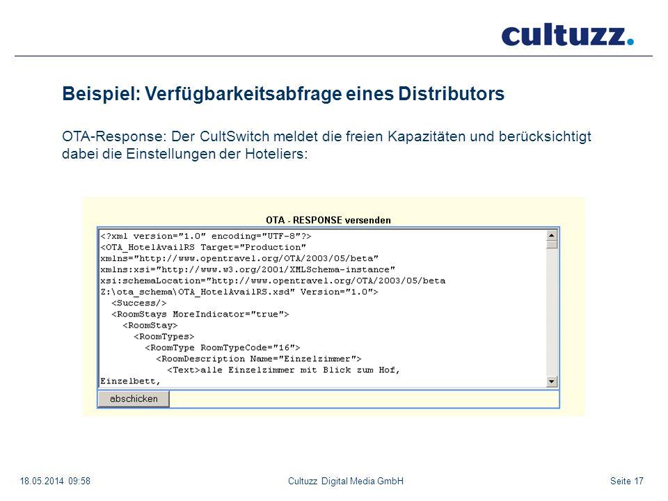 Seite 1718.05.2014 09:58Cultuzz Digital Media GmbH Beispiel: Verfügbarkeitsabfrage eines Distributors OTA-Response: Der CultSwitch meldet die freien K