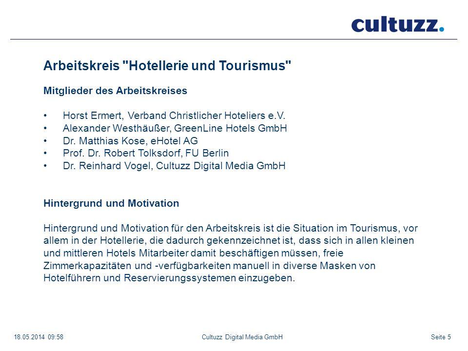 Seite 618.05.2014 09:58Cultuzz Digital Media GmbH Arbeitskreis Hotellerie und Tourismus Nutzen eines Austauschs von Hoteldaten Durchschnittlich werden bei einem gut geführten Hotel ca.