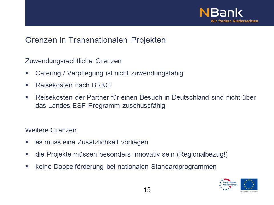 Grenzen in Transnationalen Projekten Zuwendungsrechtliche Grenzen Catering / Verpflegung ist nicht zuwendungsfähig Reisekosten nach BRKG Reisekosten d