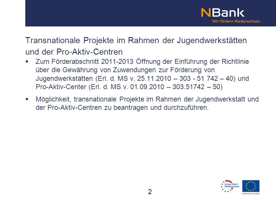 Transnationale Projekte im Rahmen der Jugendwerkstätten und der Pro-Aktiv-Centren Zum Förderabschnitt 2011-2013 Öffnung der Einführung der Richtlinie