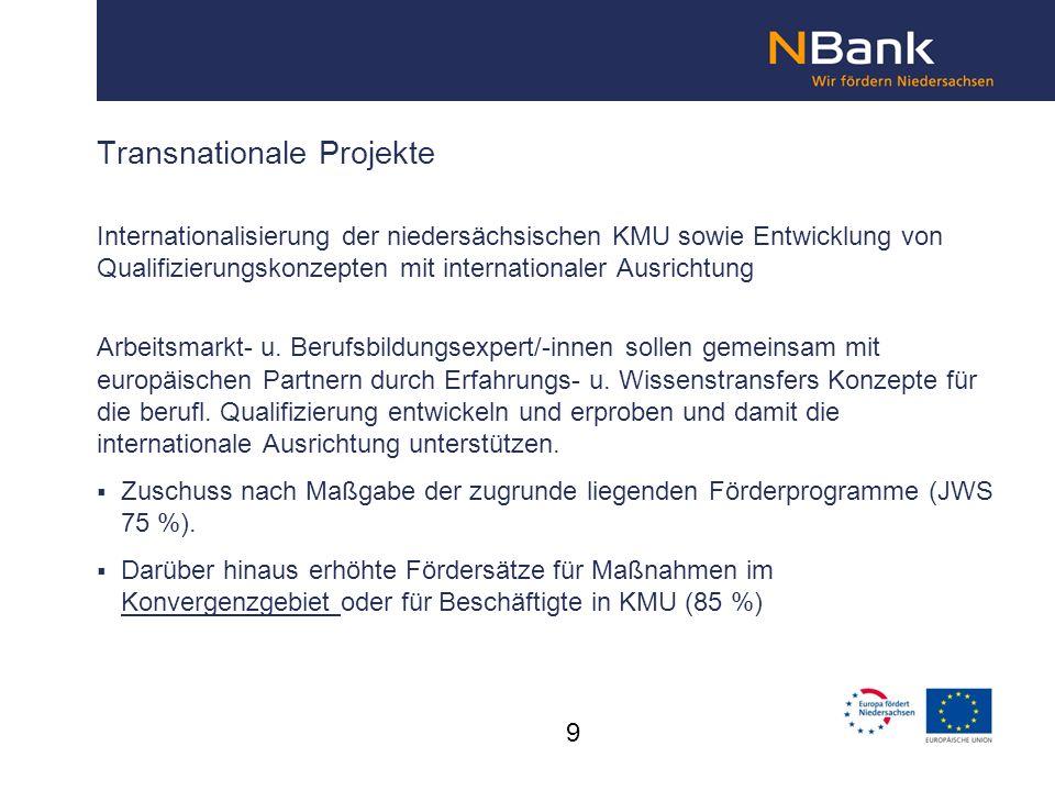 Internationalisierung der niedersächsischen KMU sowie Entwicklung von Qualifizierungskonzepten mit internationaler Ausrichtung Arbeitsmarkt- u. Berufs