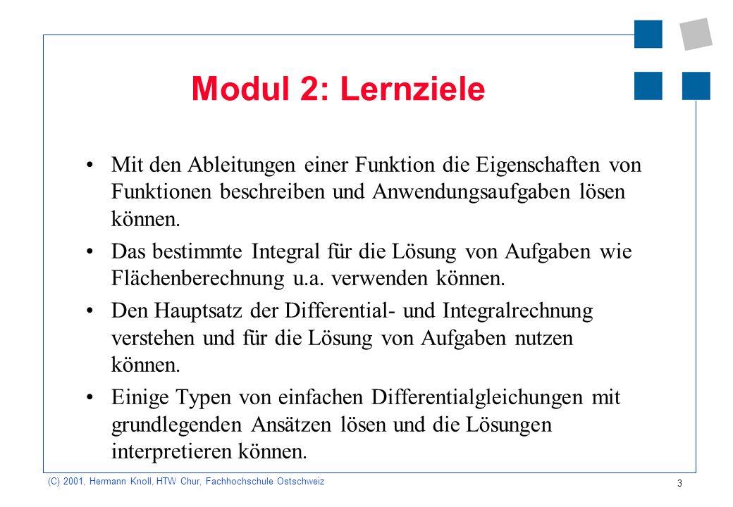 3 (C) 2001, Hermann Knoll, HTW Chur, Fachhochschule Ostschweiz Modul 2: Lernziele Mit den Ableitungen einer Funktion die Eigenschaften von Funktionen