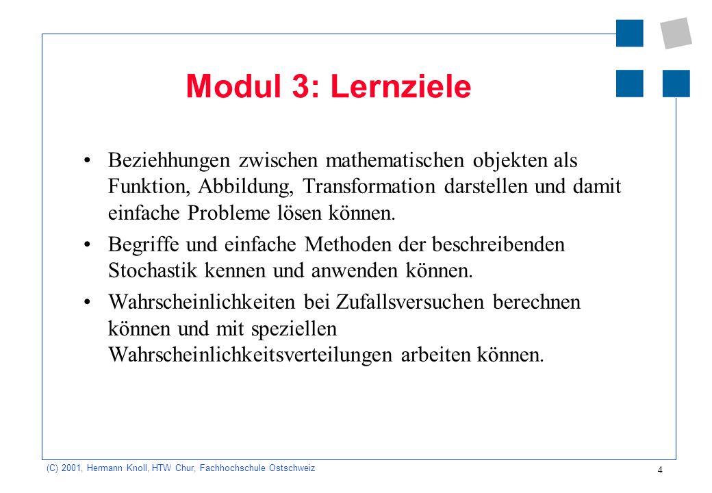5 (C) 2001, Hermann Knoll, HTW Chur, Fachhochschule Ostschweiz Modul 4: Lernziele Daten- und Kontrollstrukturen kennen und damit die Lösung von mathematischen Problemen aus dem 1.