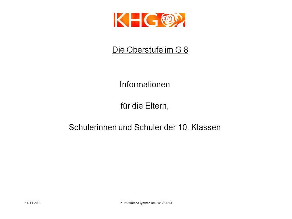 14.11.2012Kurt-Huber-Gymnasium 2012/2013 Informationen für die Eltern, Schülerinnen und Schüler der 10. Klassen Die Oberstufe im G 8
