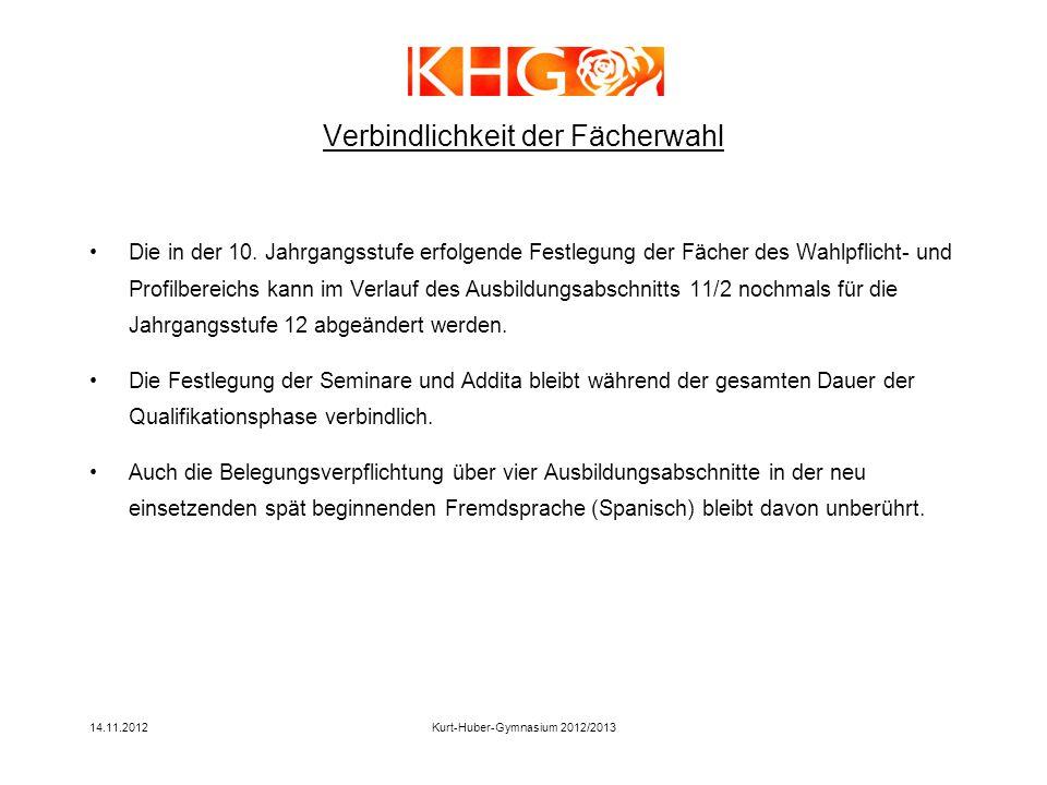 14.11.2012Kurt-Huber-Gymnasium 2012/2013 Verbindlichkeit der Fächerwahl Die in der 10. Jahrgangsstufe erfolgende Festlegung der Fächer des Wahlpflicht