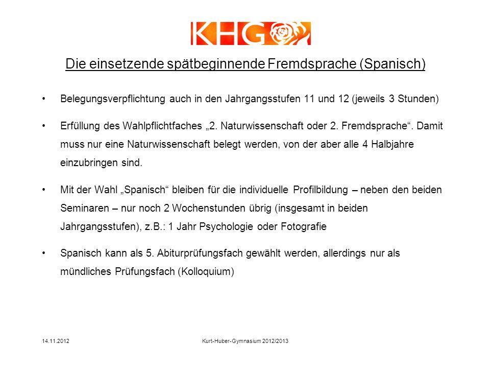 14.11.2012Kurt-Huber-Gymnasium 2012/2013 Belegungsverpflichtung auch in den Jahrgangsstufen 11 und 12 (jeweils 3 Stunden) Erfüllung des Wahlpflichtfac