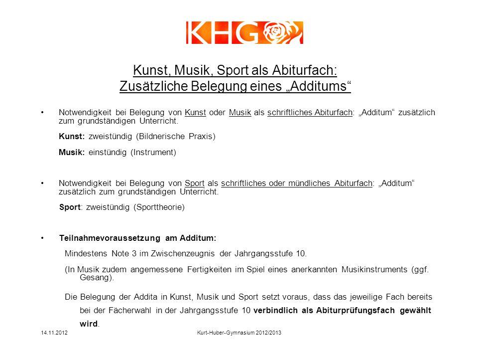 14.11.2012Kurt-Huber-Gymnasium 2012/2013 Notwendigkeit bei Belegung von Kunst oder Musik als schriftliches Abiturfach: Additum zusätzlich zum grundstä