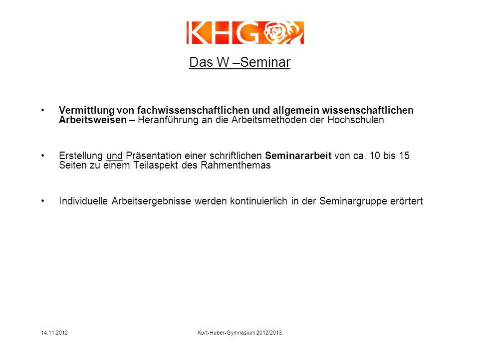14.11.2012Kurt-Huber-Gymnasium 2012/2013 Das W –Seminar Vermittlung von fachwissenschaftlichen und allgemein wissenschaftlichen Arbeitsweisen – Heranf