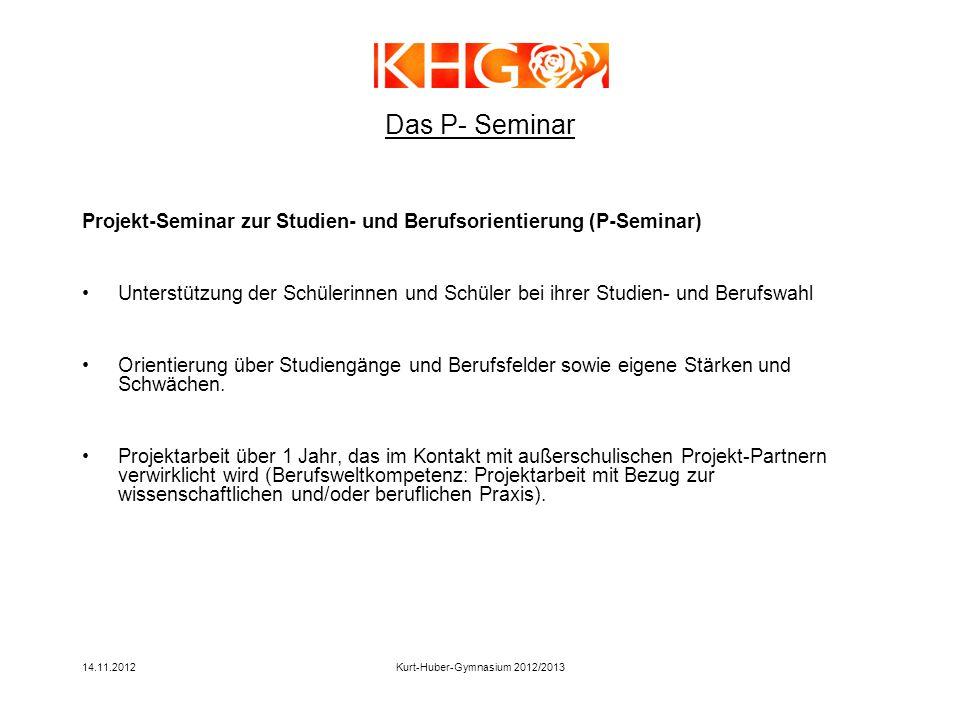14.11.2012Kurt-Huber-Gymnasium 2012/2013 Das P- Seminar Projekt-Seminar zur Studien- und Berufsorientierung (P-Seminar) Unterstützung der Schülerinnen