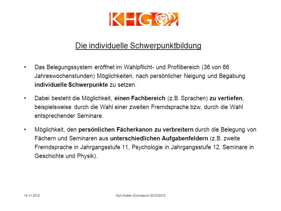 14.11.2012Kurt-Huber-Gymnasium 2012/2013 Das Belegungssystem eröffnet im Wahlpflicht- und Profilbereich (36 von 66 Jahreswochenstunden) Möglichkeiten,