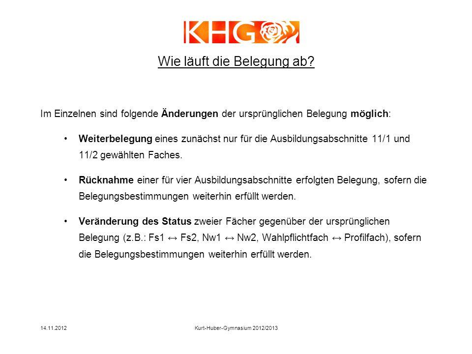 14.11.2012Kurt-Huber-Gymnasium 2012/2013 Wie läuft die Belegung ab? Im Einzelnen sind folgende Änderungen der ursprünglichen Belegung möglich: Weiterb