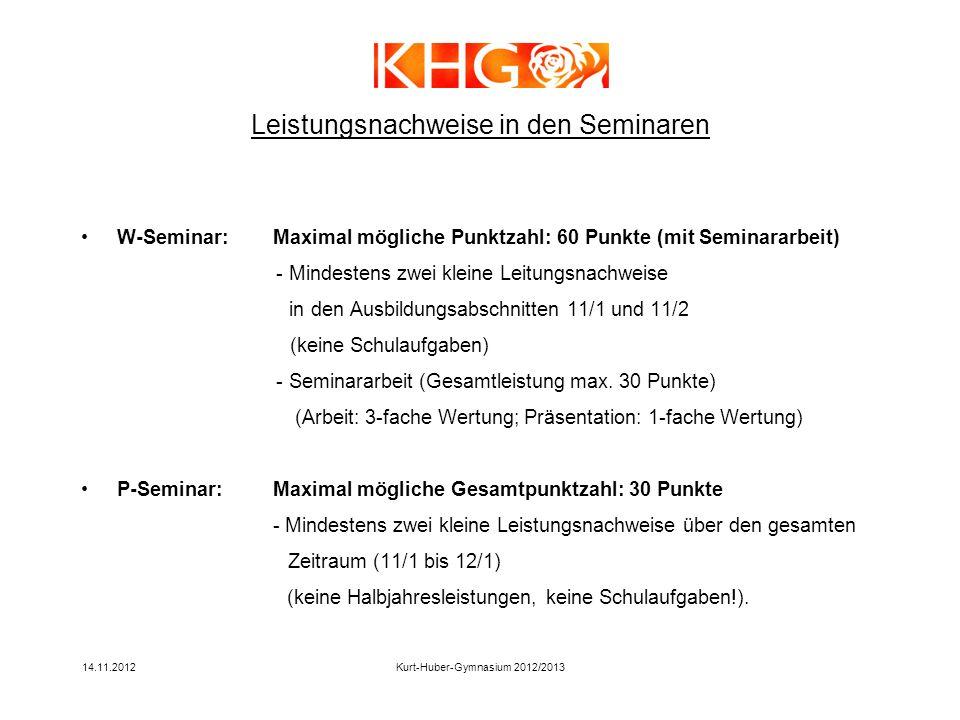 14.11.2012Kurt-Huber-Gymnasium 2012/2013 W-Seminar:Maximal mögliche Punktzahl: 60 Punkte (mit Seminararbeit) - Mindestens zwei kleine Leitungsnachweis