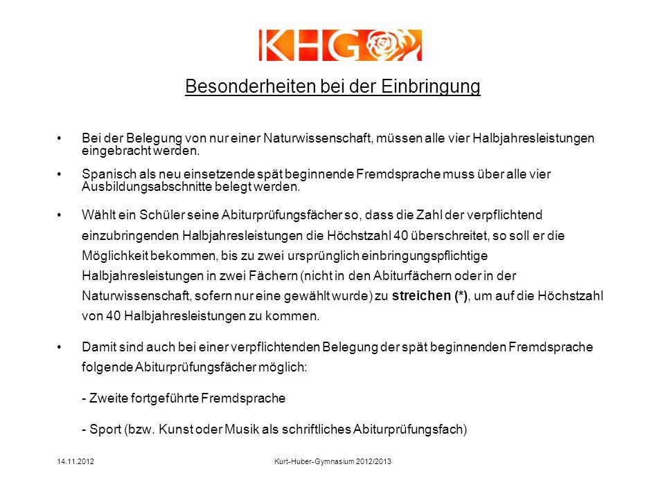 14.11.2012Kurt-Huber-Gymnasium 2012/2013 Bei der Belegung von nur einer Naturwissenschaft, müssen alle vier Halbjahresleistungen eingebracht werden. S
