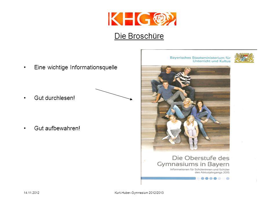14.11.2012Kurt-Huber-Gymnasium 2012/2013 Die Broschüre Eine wichtige Informationsquelle Gut durchlesen! Gut aufbewahren!
