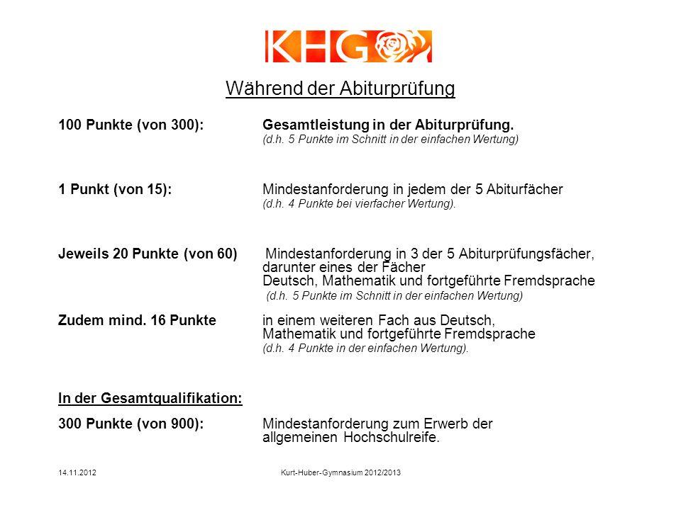 14.11.2012Kurt-Huber-Gymnasium 2012/2013 100 Punkte (von 300):Gesamtleistung in der Abiturprüfung. (d.h. 5 Punkte im Schnitt in der einfachen Wertung)