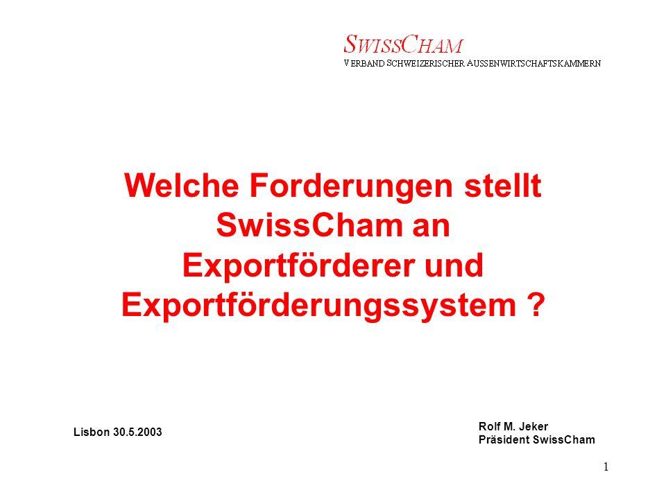 Rolf M.Jeker Präsident SwissCham 2 Die Anforderungen an der Exportförderer Vier Grundprinzipien 1.