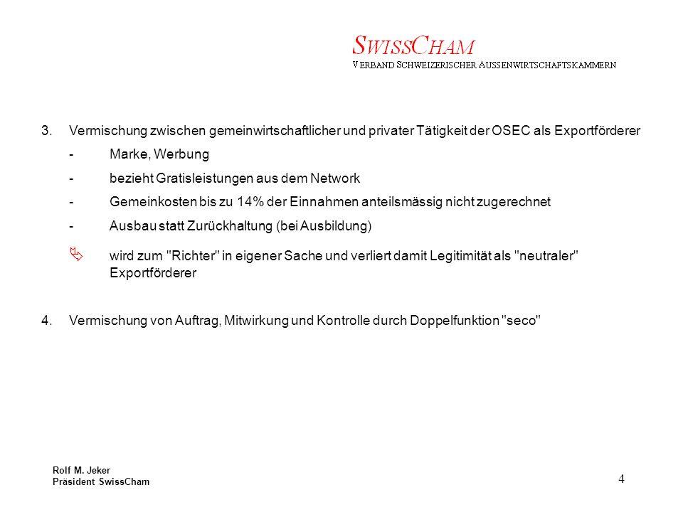 Rolf M.Jeker Präsident SwissCham 5 Forderungen an Exportförderer 1.