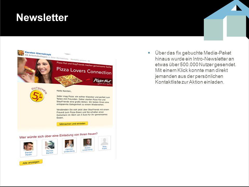 Newsletter Über das fix gebuchte Media-Paket hinaus wurde ein Intro-Newsletter an etwas über 500.000 Nutzer gesendet. Mit einem Klick konnte man direk